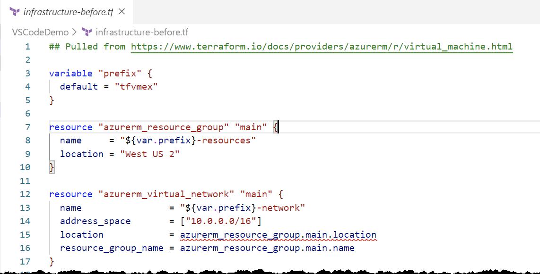 Terraform syntax-highlighting performed by the VS Code Terraform extension