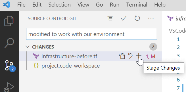 Staging Git changes
