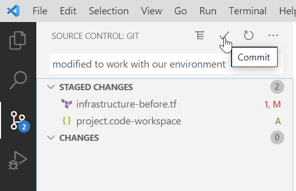 Committing Git changes