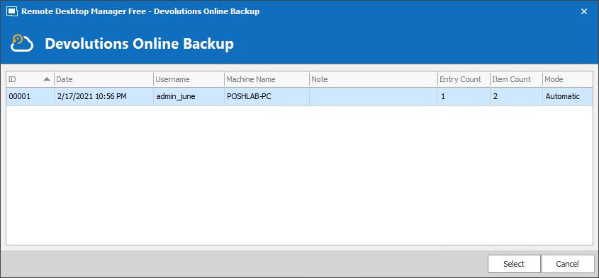 Choosing an online backup to restore