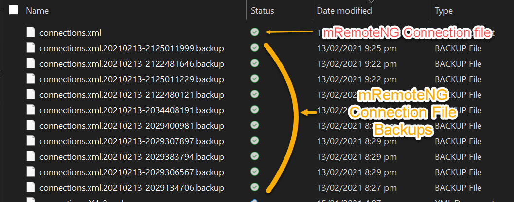 mRemoteNG connection file and connection file backups
