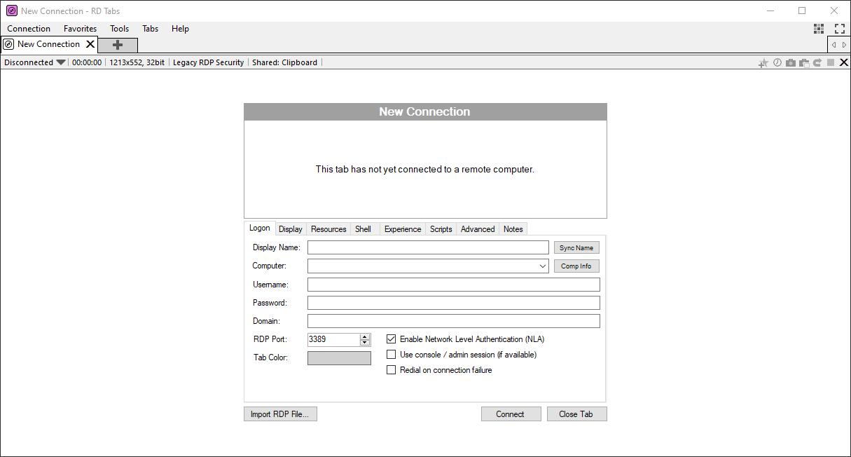 RD Tabs' main interface