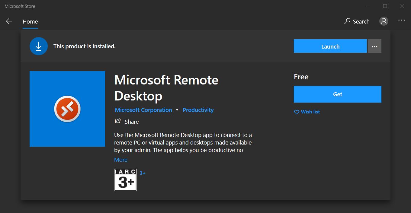 Microsoft Remote Desktop in the Microsoft Store