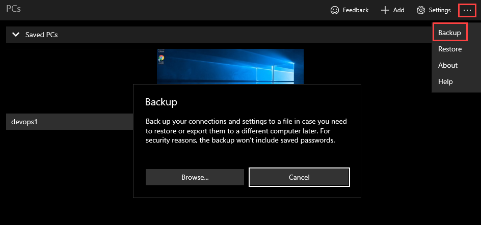 Backing up connections and settings