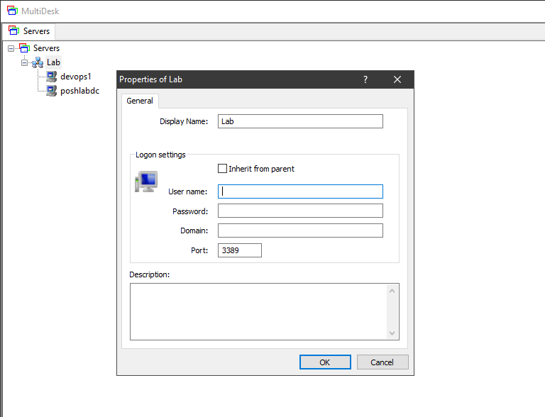 Adding a credential to a group of remote systems in MultiDesk