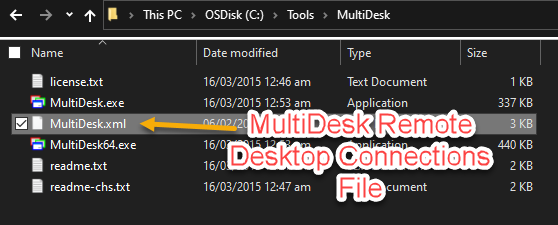 The MultiDesk.xml file is located in MultiDesk executable folder
