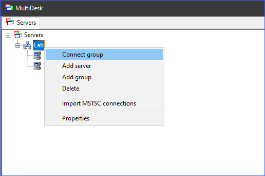 Connecting to a group of remote machines at once in MultiDesk