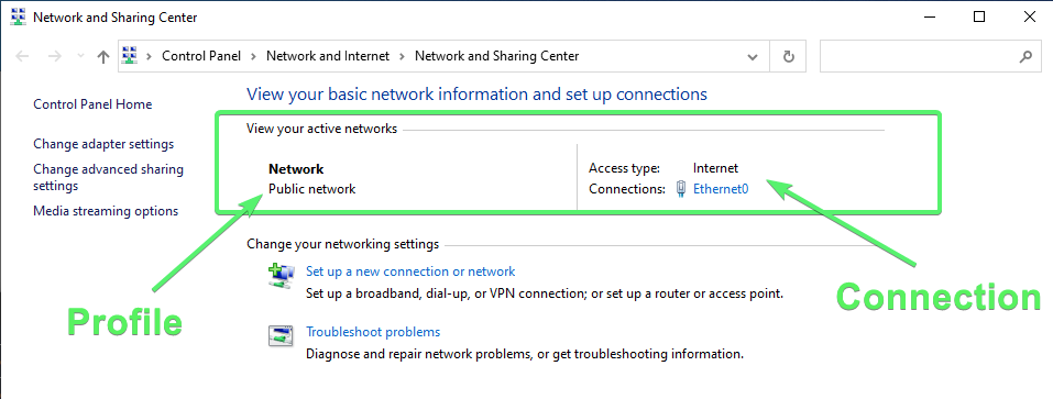 Viewing a Network Profile for an ethernet connection in the Network and Sharing Center.