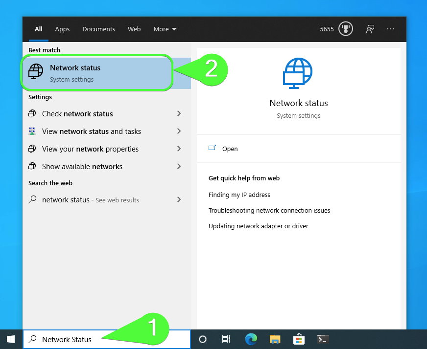 Locating the Network Status system settings screen with the Windows 10 Search Box.