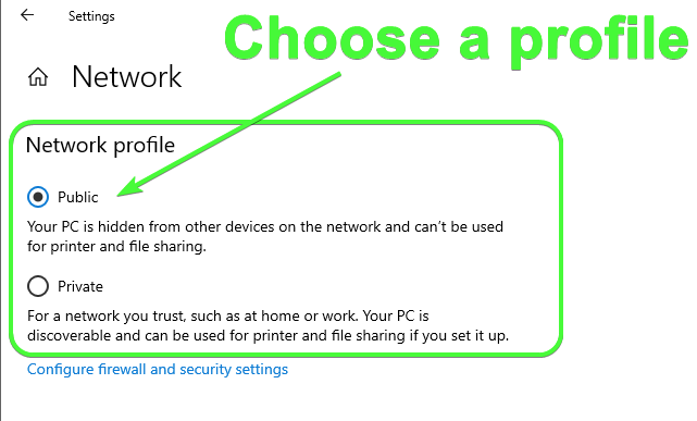 Changing a network connection's network profile.