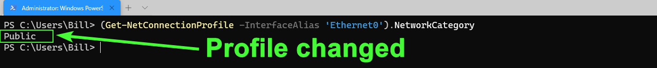 Verifying that the Ethernet0 interface has changed to use the Public profile.