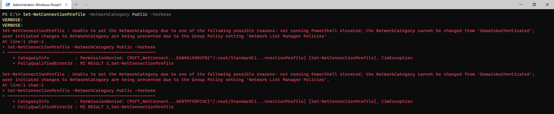 Group Policy blocking network profile change.