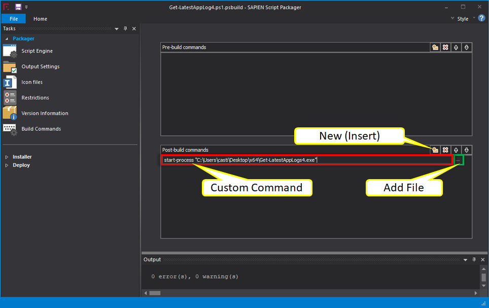 Adding Pre-Build or Post-Build Custom Commands To Execute