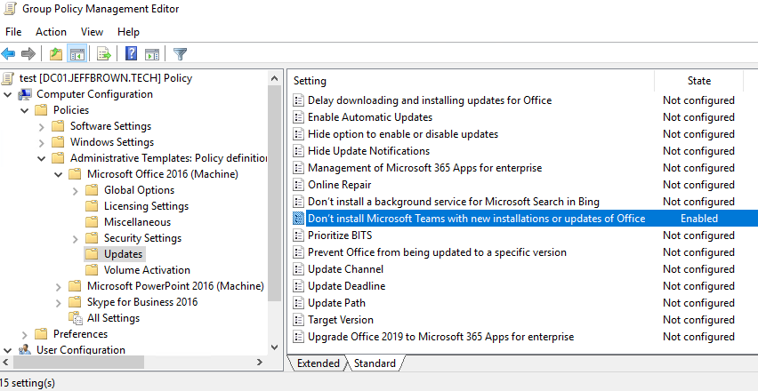 Enabling Don't install Microsoft Teams with new installations or updates of Office