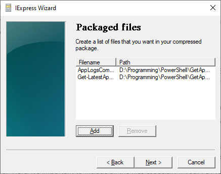 Selecting Files To Include In The Package
