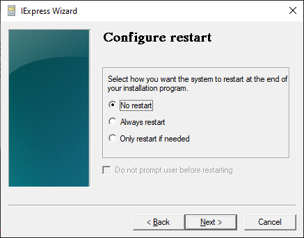 Choosing Whether To Require A Restart Or Not