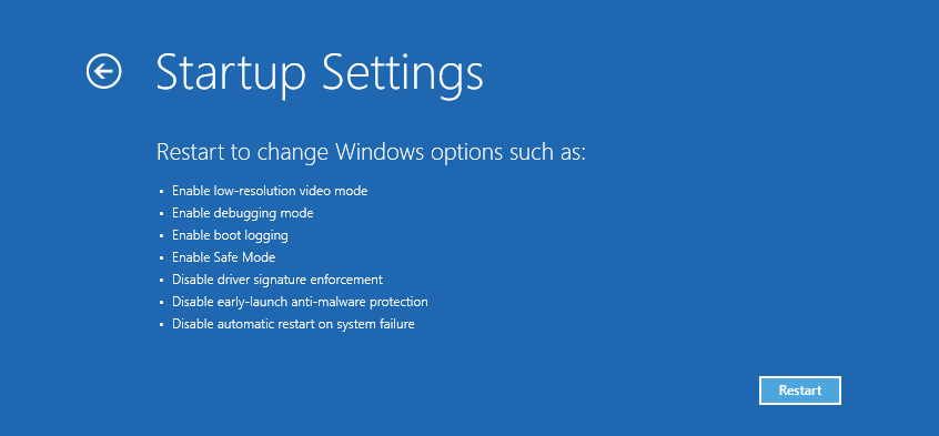 Startup Settings options prior to restarting in Safe Mode.