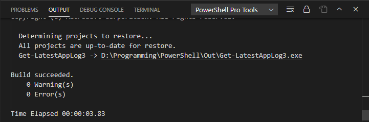 Logs Shown In The Output Pane