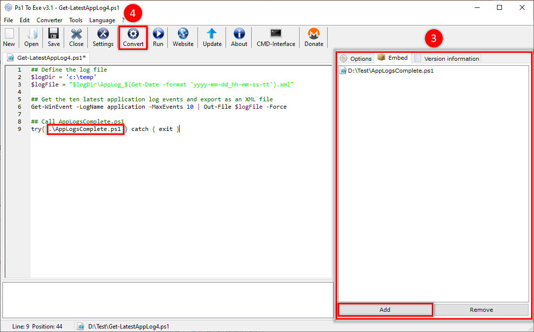 Adding Dependent Scripts And Converting Script to EXE