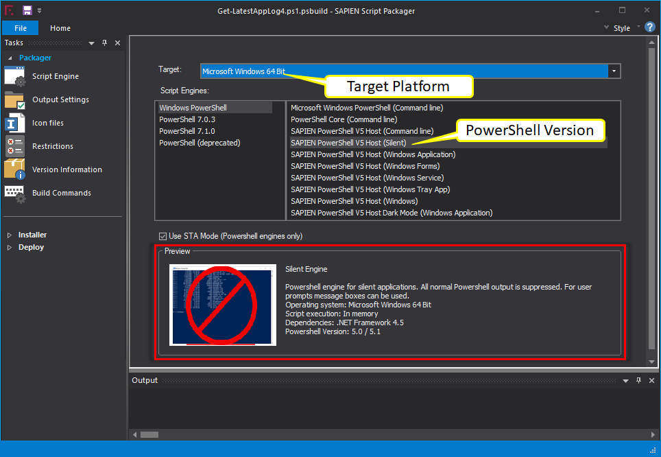 Setting up Target Platform And PowerShell Scrip Engine