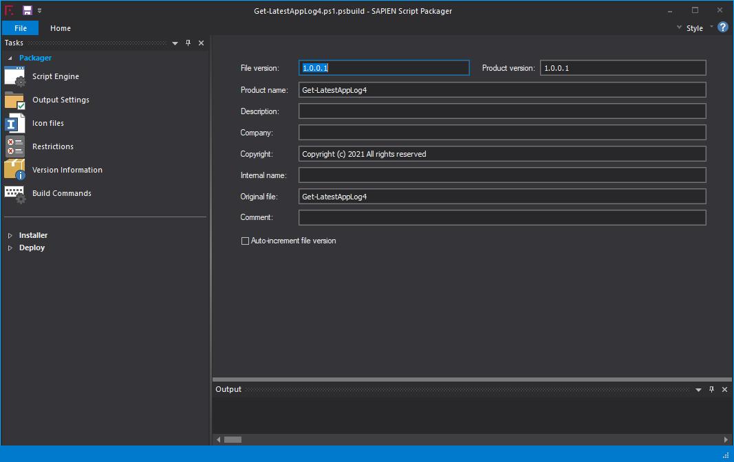 Setting File Version Information