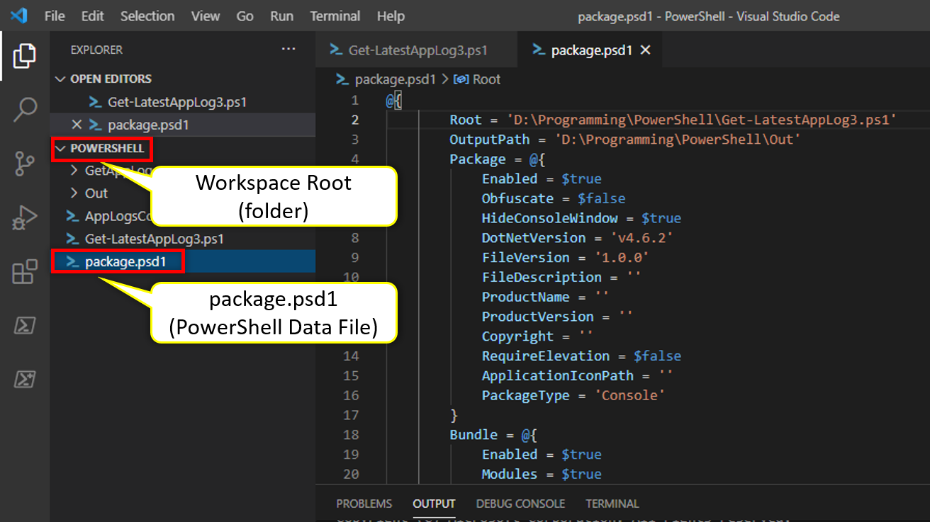 Showing Workspace Root and PowerShell Data File (PSD1)