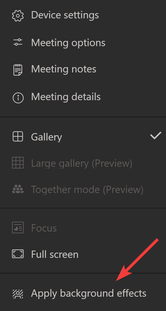 Choosing to Apply background effects within a meeting.