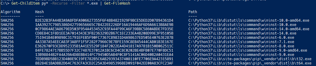 Recursively generating executable file hashes from all directories and sub-directories.