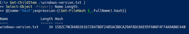 Adding the file hash via a calculated property to the output of Get-ChildItem.