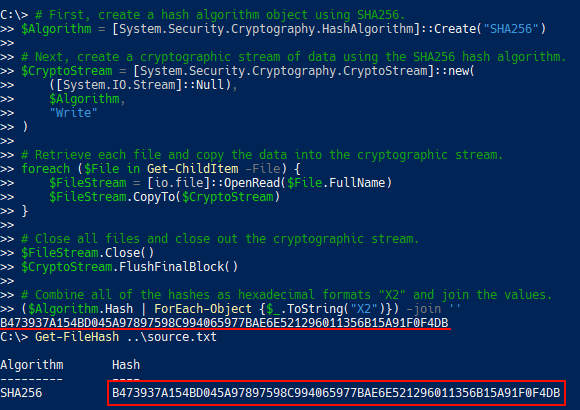 Demonstrating that the original source file hash matches the cryptographic stream hash.