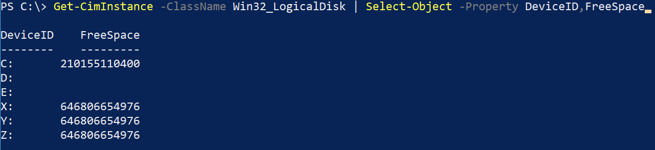 Limiting output to only DeviceID and FreeSpace