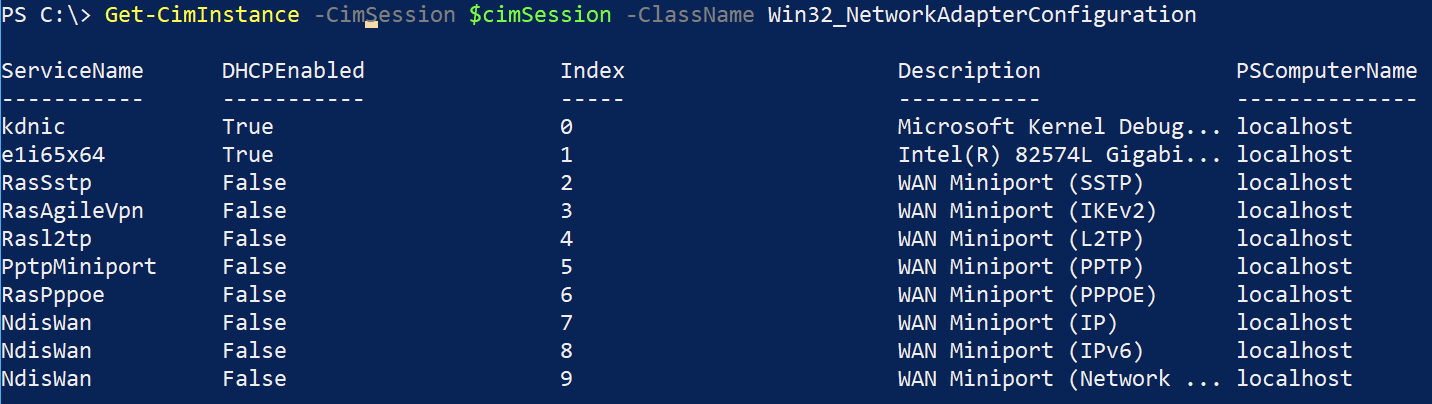 Querying WMI with a CIM session to get network adapter information
