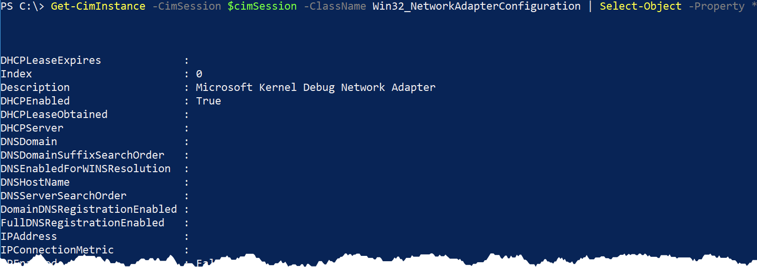 Lots of output from The Win32_NetworkAdapterConfiguration class!