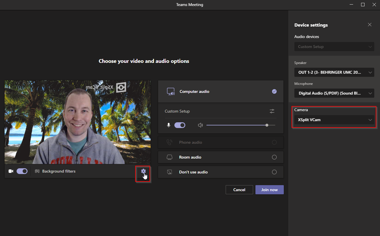 Changing the Camera device in Teams to use XSplit VCam.