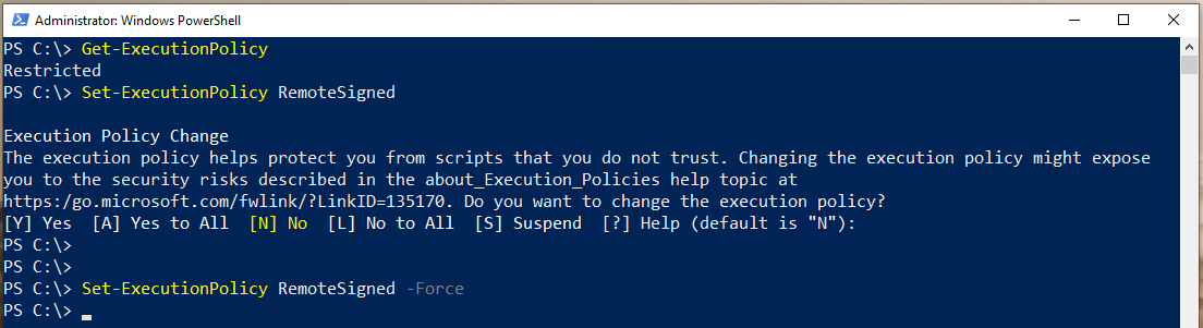 Output of Set-ExecutionPolicy command when Force Parameter is used