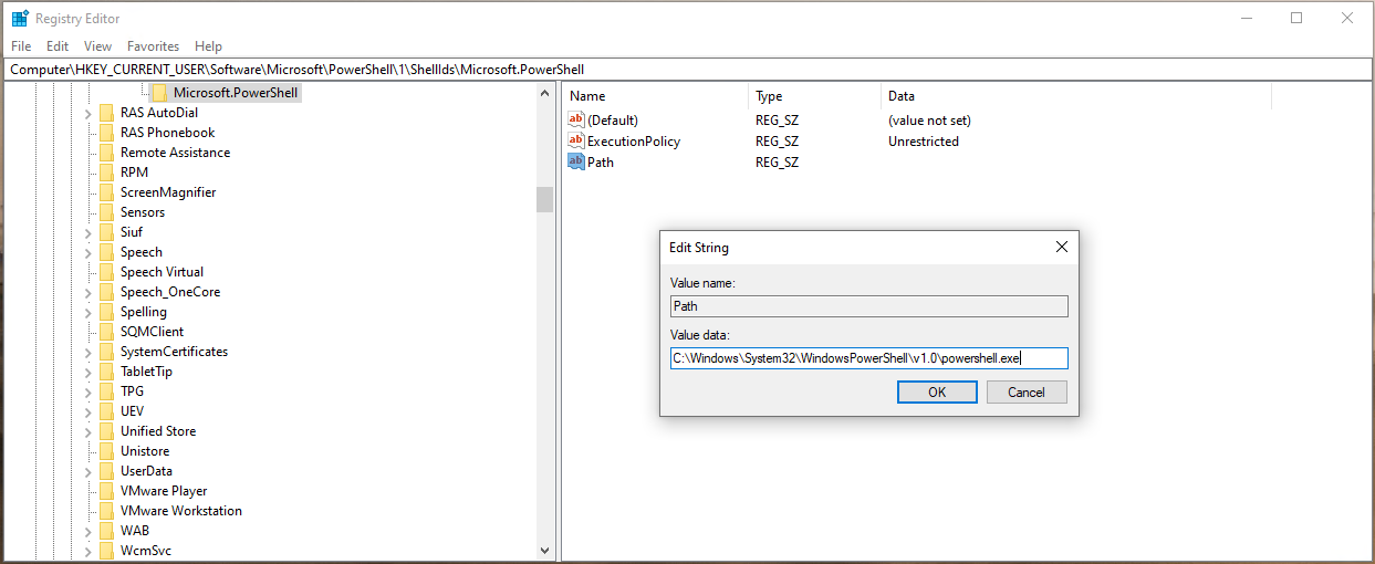 Registry path for ExecutionPolicy in registry for current user