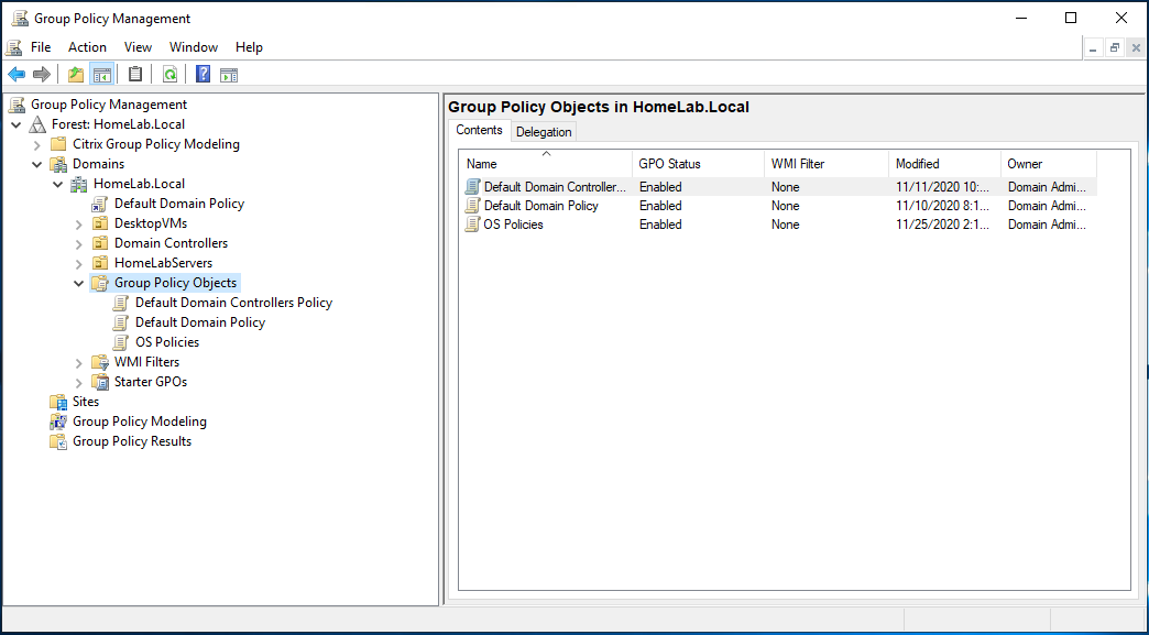 Select Group Policy Objects node