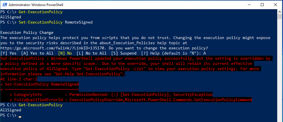 Error on trying to changing execution policy manually