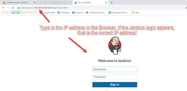 Logging into the Jenkins Dashboard.