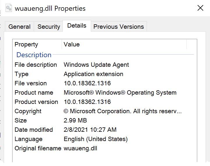 Property Windows Details