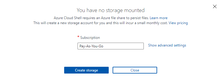 Creating the Cloud Shell storage account