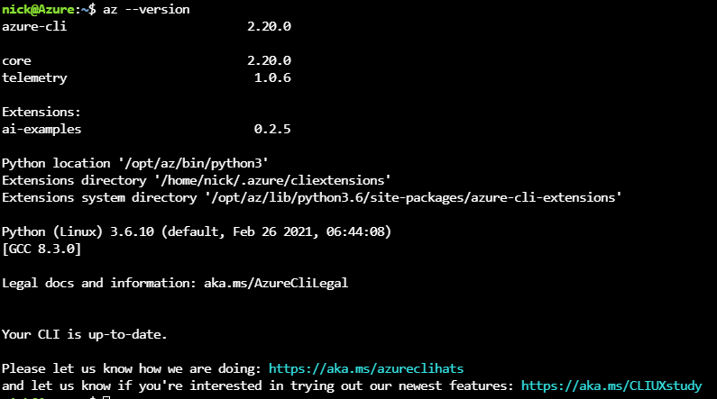 Azure CLI in the Cloud Shell
