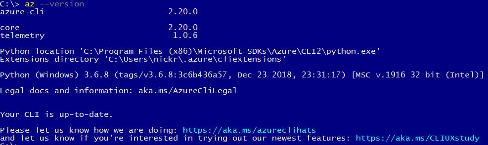 Results of executing az —version