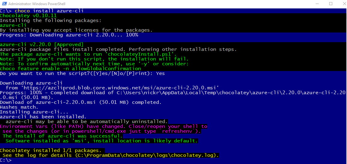 Installing the Azure CLI with Chocolatey