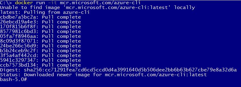 Downloading the Azure CLI Docker image