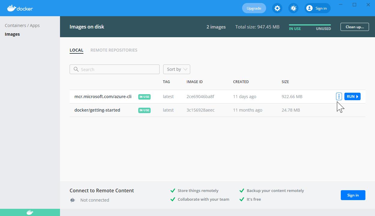 Running a Docker container in Docker for Desktop