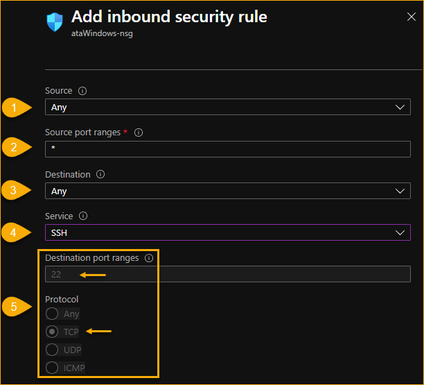 Adding Inbound rule (SSH)