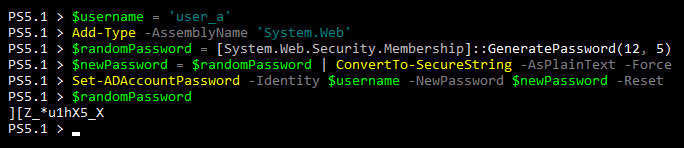 Resetting the user password with a random complex password