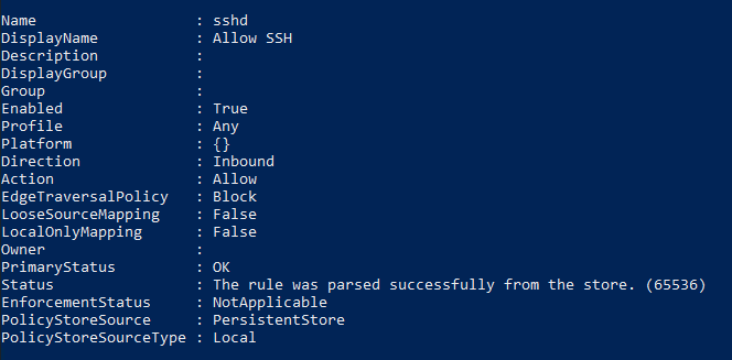Creating a Windows Firewall Rule to allow Port 22
