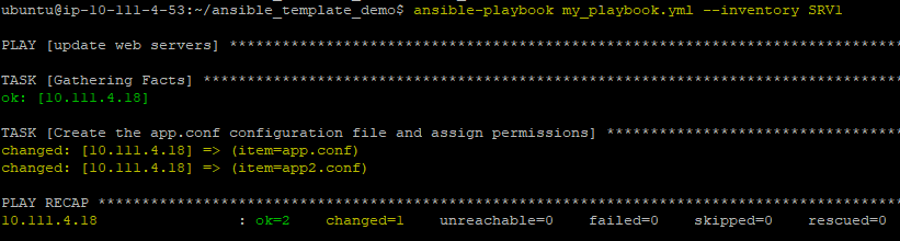 Notice now that Ansible sees each template file and processes them accordingly.